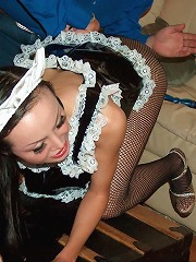 Sexy maid gets a hard spanking