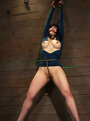 Big titted MILF, feels the evil bite of a crotch ropeOrgasms are ripped out of her helpless body